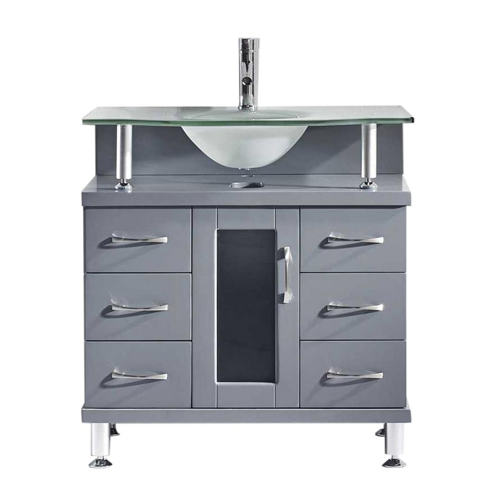 Virtu USA Vincente 32 In. W X 22 In. D Vanity In Grey With Frosted Glass Vanity Top In Mint With