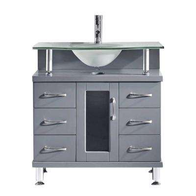 Vincente 32 in. W x 22 in. D Vanity in Grey with Frosted Glass Vanity Top in Mint with Mint Basin