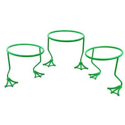 Garden Companions 5.91 in. Dia Green Steel Frog Pot Ring Stand (3-Pack)