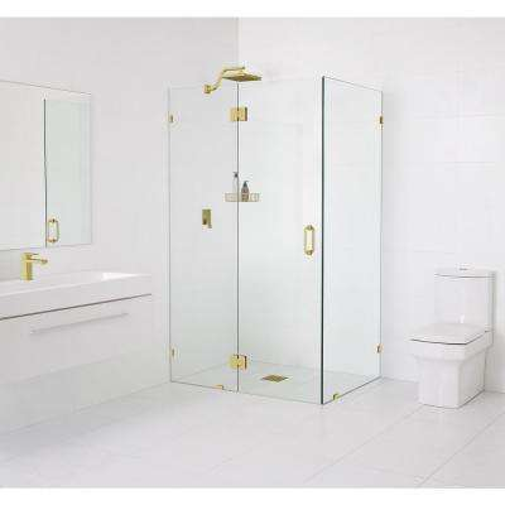 90° Glass-Hinged 47 in. x 78 in. x 36 in. Frameless Pivot Shower Door in Matte Satin Brass