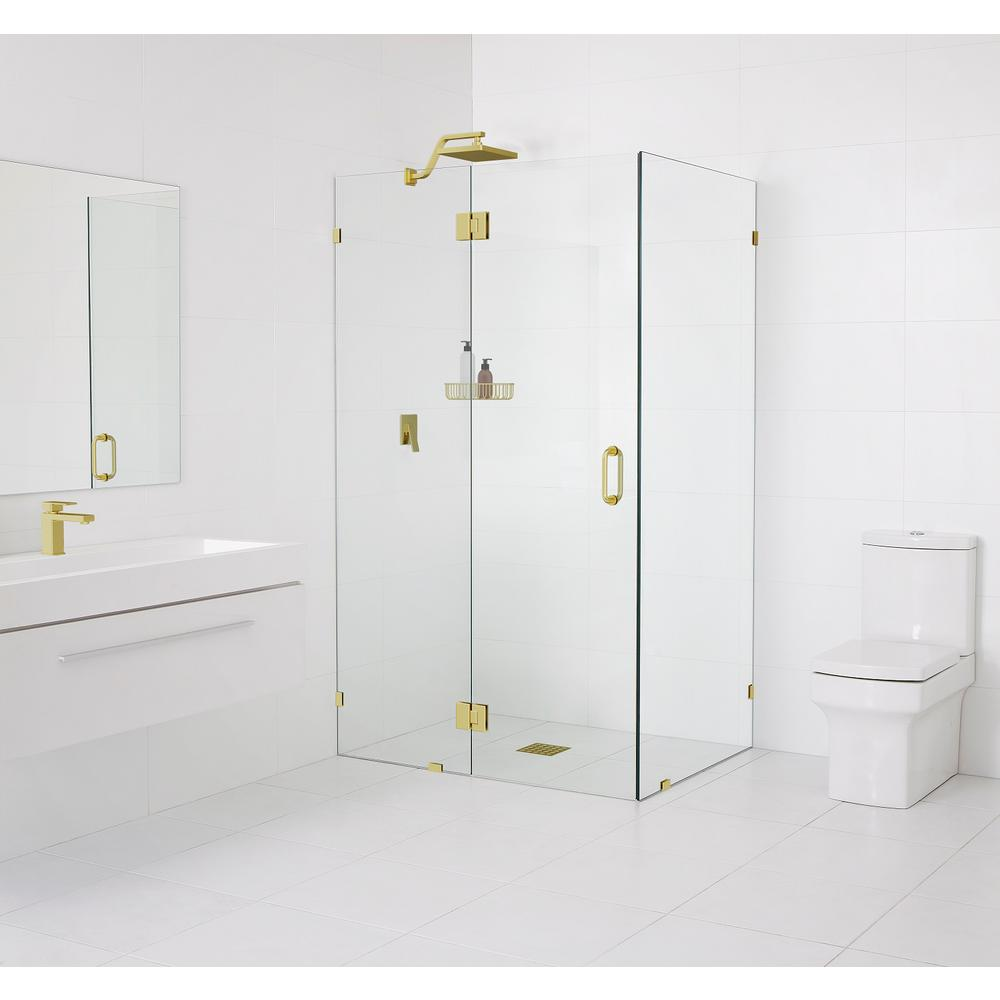Glass Warehouse 90° Glass-Hinged 47 in. x 78 in. x 37 in. Frameless Pivot Shower Door in Matte Satin Brass
