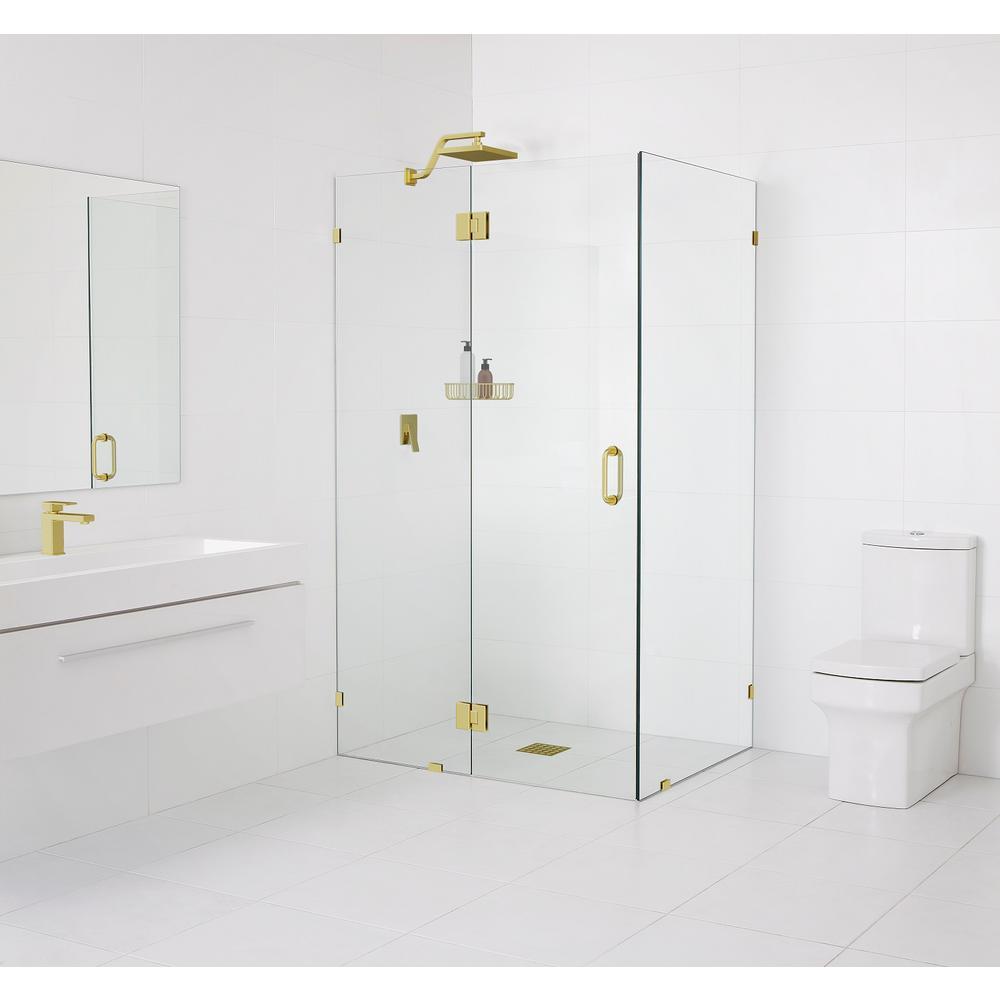 90° Glass-Hinged 34 in. x 78 in. x 34 in. Frameless Pivot Shower Door in Matte Satin Brass