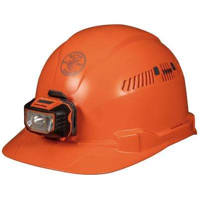 Vented Orange Cap Style with Headlamp Hard Hat
