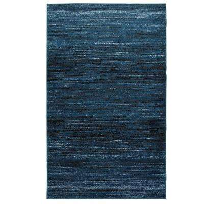 Matrix Soft Blue/Black Rectangle 5 ft. 2 in. x 7 ft. 2 in. Indoor Area Rug
