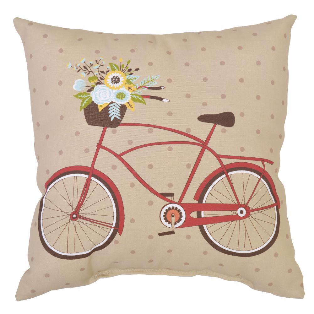 Hampton Bay Ruby Bike Square Outdoor Throw Pillow