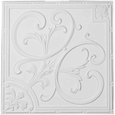 Odessa 1.6 ft. x 1.6 ft. Glue Up or Nail Up Polyurethane Ceiling Tile in White