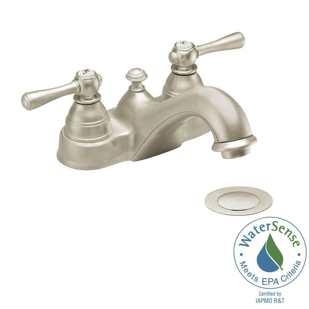 Kingsley 4 in. 2-Handle Bathroom Faucet in Brushed Nickel with Drain