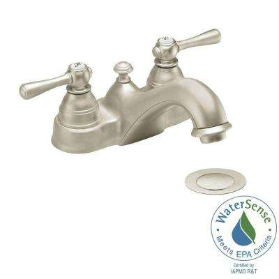 Kingsley 4 in. 2-Handle Bathroom Faucet in Brushed Nickel with Drain Assembly