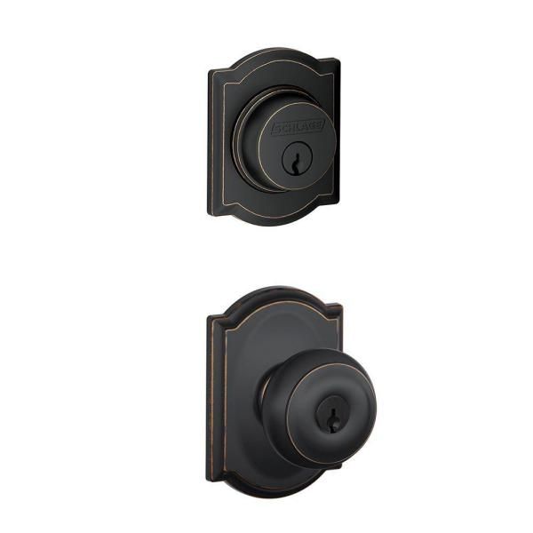 Camelot Aged Bronze Single Cylinder Deadbolt with Georgian Entry Door Knob Combo Pack