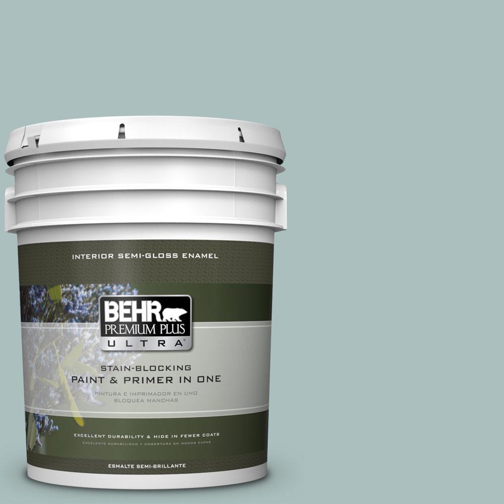 5 gal. #HDC-CL-15G Morning Parlor Semi-Gloss Enamel Interior Paint