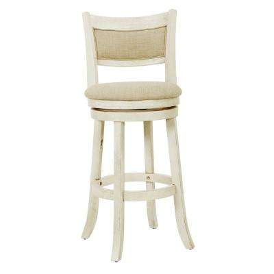 Swivel 30 in. Antique White Stool with Solid Back