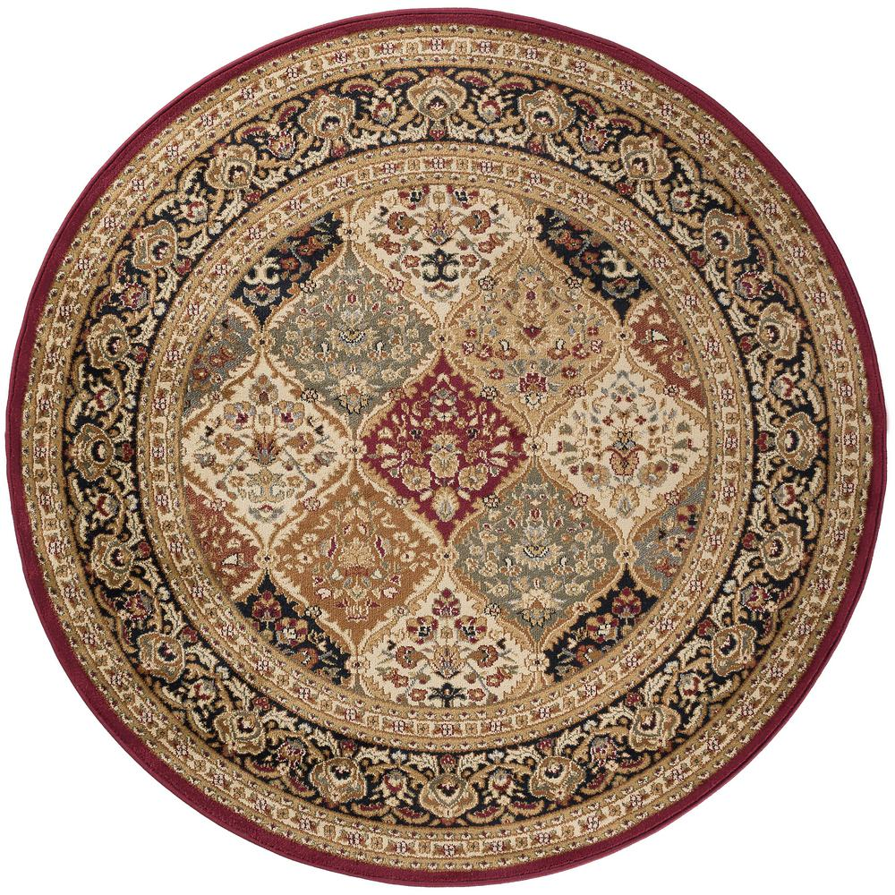 Tayse Rugs Sensation Red 5 ft. 3 in. Round Traditional Area Rug