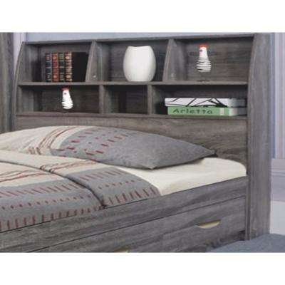 Gray Elegant Full-Size Bookcase Headboard with 6-Shelves