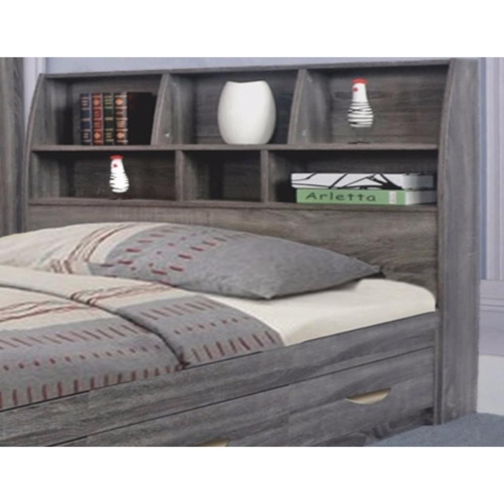 Benzara Gray Elegant Full Size Bookcase Headboard With 6 Shelves