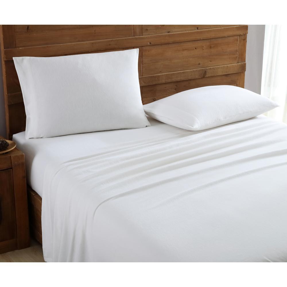 Geraldine 100% Cotton White Flannel Queen Sheet Set M577420