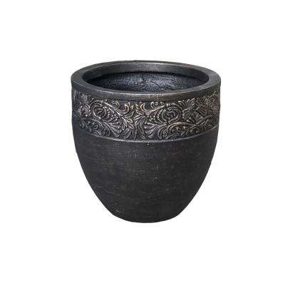 Small 12.99 in. Dia x 11.81 in. Bronzewash Color Lightweight Concrete Floral Scroll Foliage Round Planter