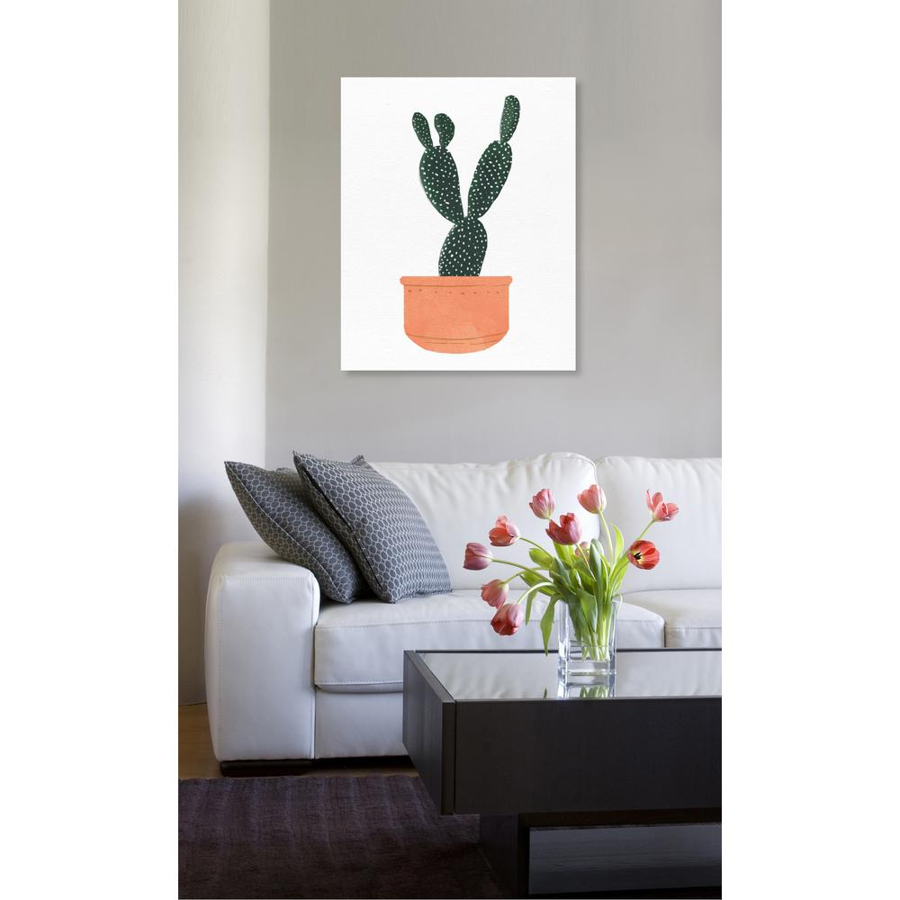 "16 in. x 13 in. W ""Cactus Coral"" Printed Framed Canvas"