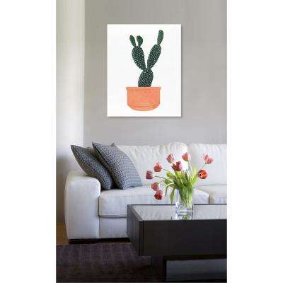 "16 in. x 13 in. W ""Cactus Coral"" Printed Framed Canvas Wall Art"