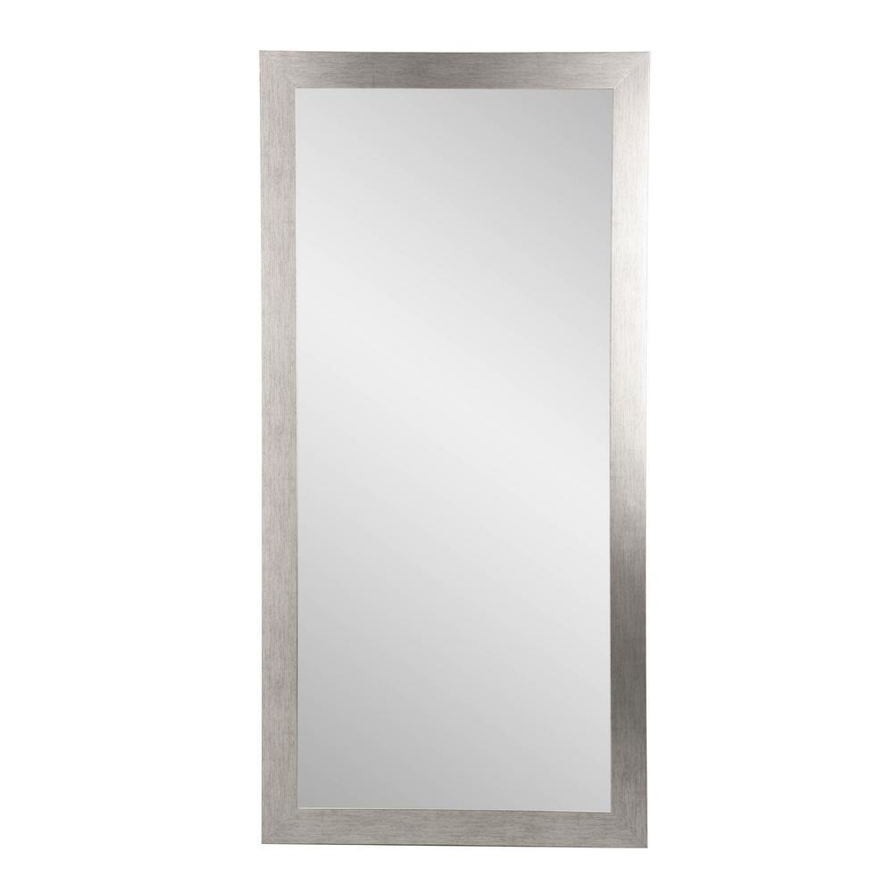 Modern Silver Grain Tall Framed Mirror