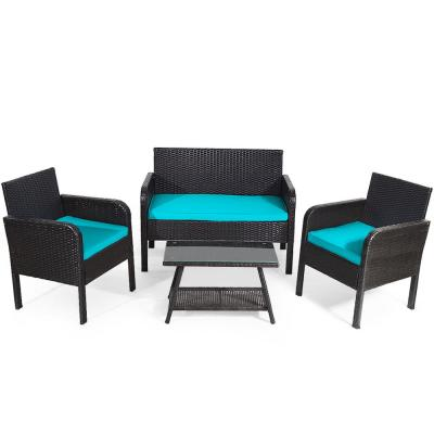 4-Piece Outdoor Rattan Furniture Set Patio Conversation Set with Turquoise Cushion