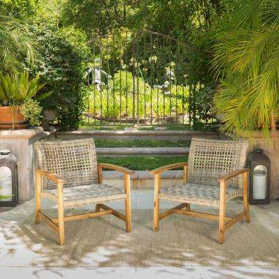 2-Piece Wood and Wicker Patio Seating Set