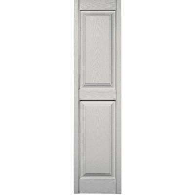 15 in. x 59 in. Raised Panel Vinyl Exterior Shutters Pair in #030 Paintable