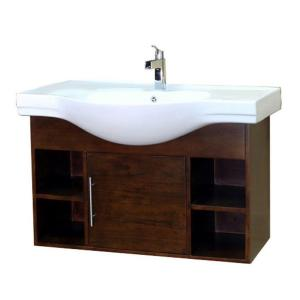 Bellaterra Home Urban 41 inch W Single Vanity in Walnut with Porcelain Vanity Top in White by Bellaterra Home
