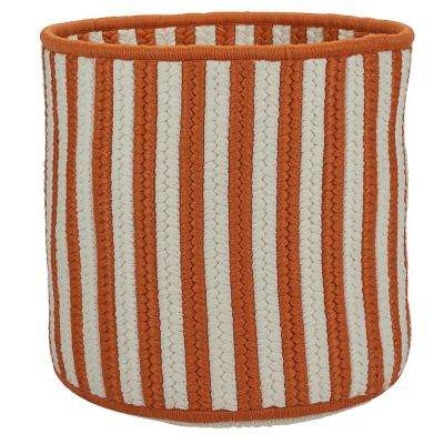 Orange 14 in. D x 14 in. W x 12 in. H Vertical Stripe Round Basket