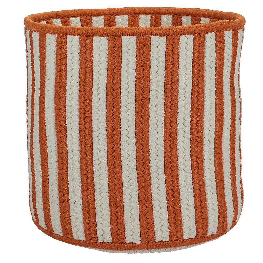 Orange 14 in. D x 14 in. W x 12 in. H Vertical Stripe Round Basket