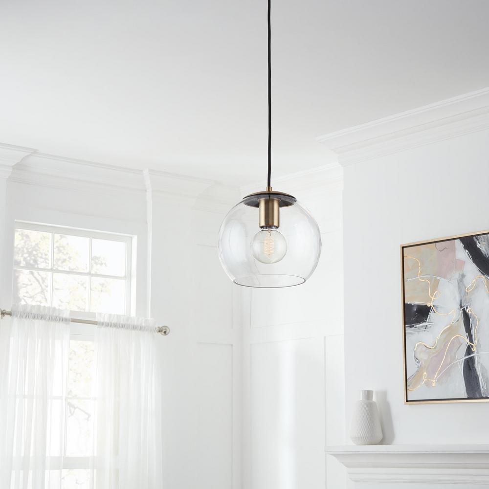 1-Light Antique Brass and Glass Mini-Pendant