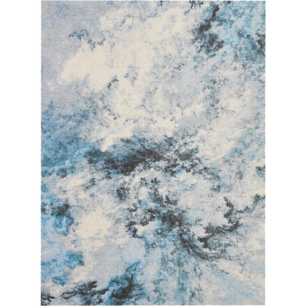 Nourison Abstract Shag 5 X 7 Blue And White Colorful Area Rug