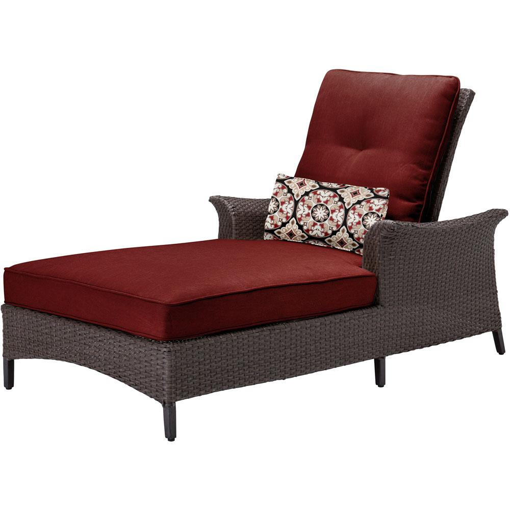 Gramercy Metal Patio Chaise Lounge with Crimson Red Cushions and Lumbar