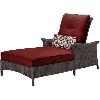 Gramercy Metal Patio Chaise Lounge with Crimson Red Cushions and Lumbar Accent Pillow