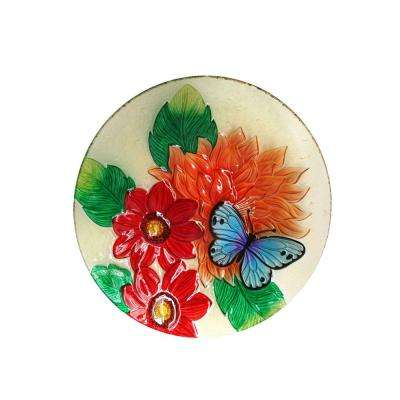 18 in. Flower with Butterfly Birdbath