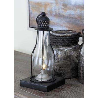 Vintage 13 in. Black Iron Bell-Shaped LED Lantern