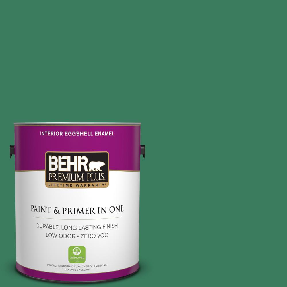 BEHR Premium Plus 1 gal. #470D-6 Greenbelt Eggshell Enamel Zero VOC Interior Paint and Primer in One