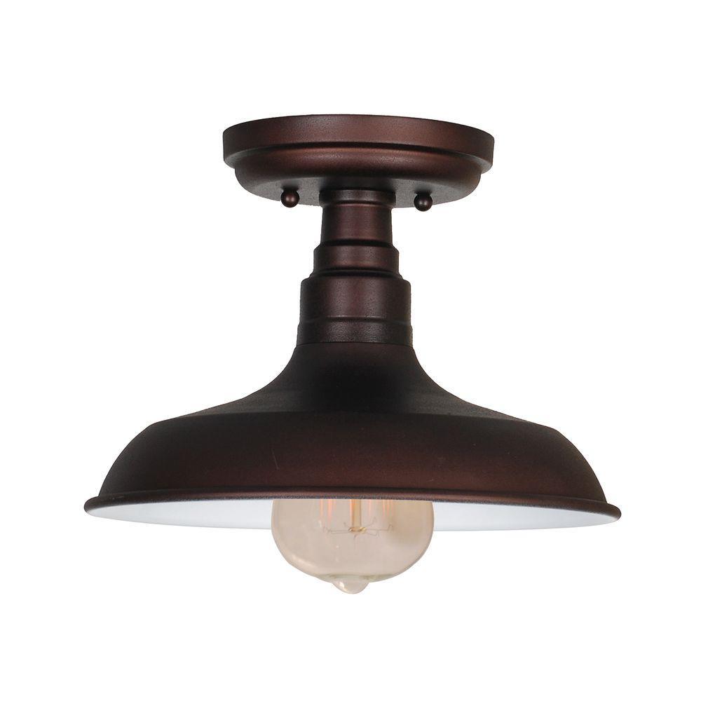 Kimball 1-Light Textured Coffee Bronze Indoor Ceiling Mount