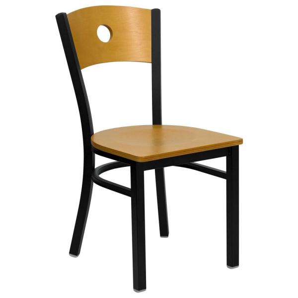 Natural Wood Back/Natural Wood Seat/Black Metal Frame Wood Dining Chair