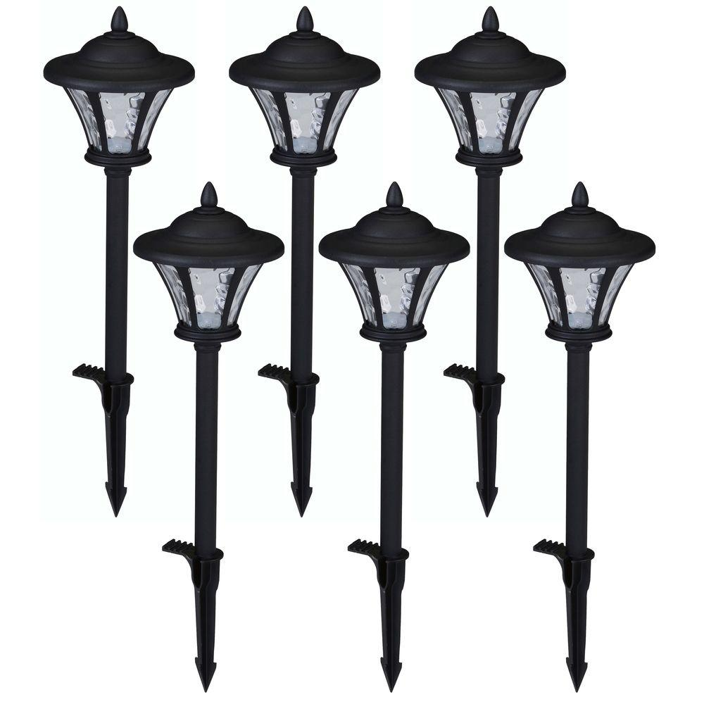 Hampton bay low voltage led black metal coach path light for Low voltage walkway lighting sets