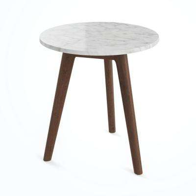 Amalia White Marble Top with Antique Coffee Wood Base Accent Table
