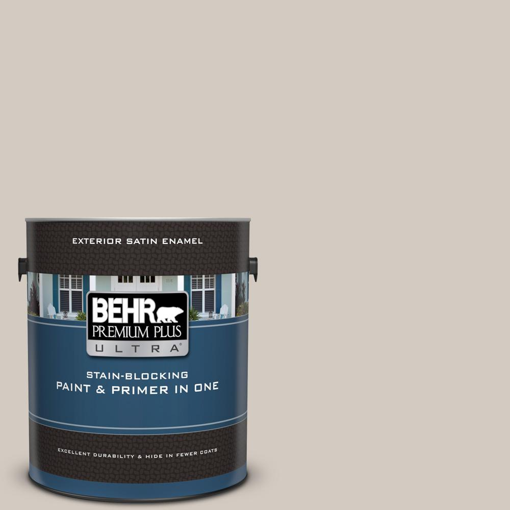 BEHR Premium Plus Ultra 1 gal. #N320-2 Toasty Gray Satin Enamel Exterior Paint and Primer in One