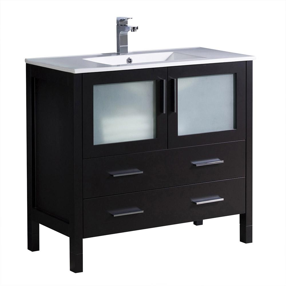 Bath Vanity In Espresso With Ceramic Top White Basin