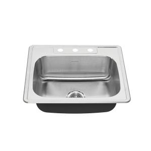Colony Pro Drop-In Stainless Steel 25 in. 3-Hole Single Bowl Kitchen Sink Kit