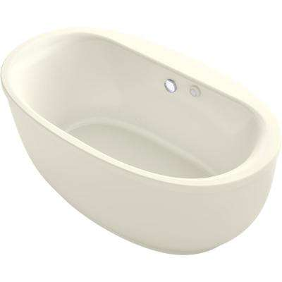 Sunstruck 60 in. Acrylic Flatbottom Air Bath Bathtub with Fluted Shroud in Biscuit