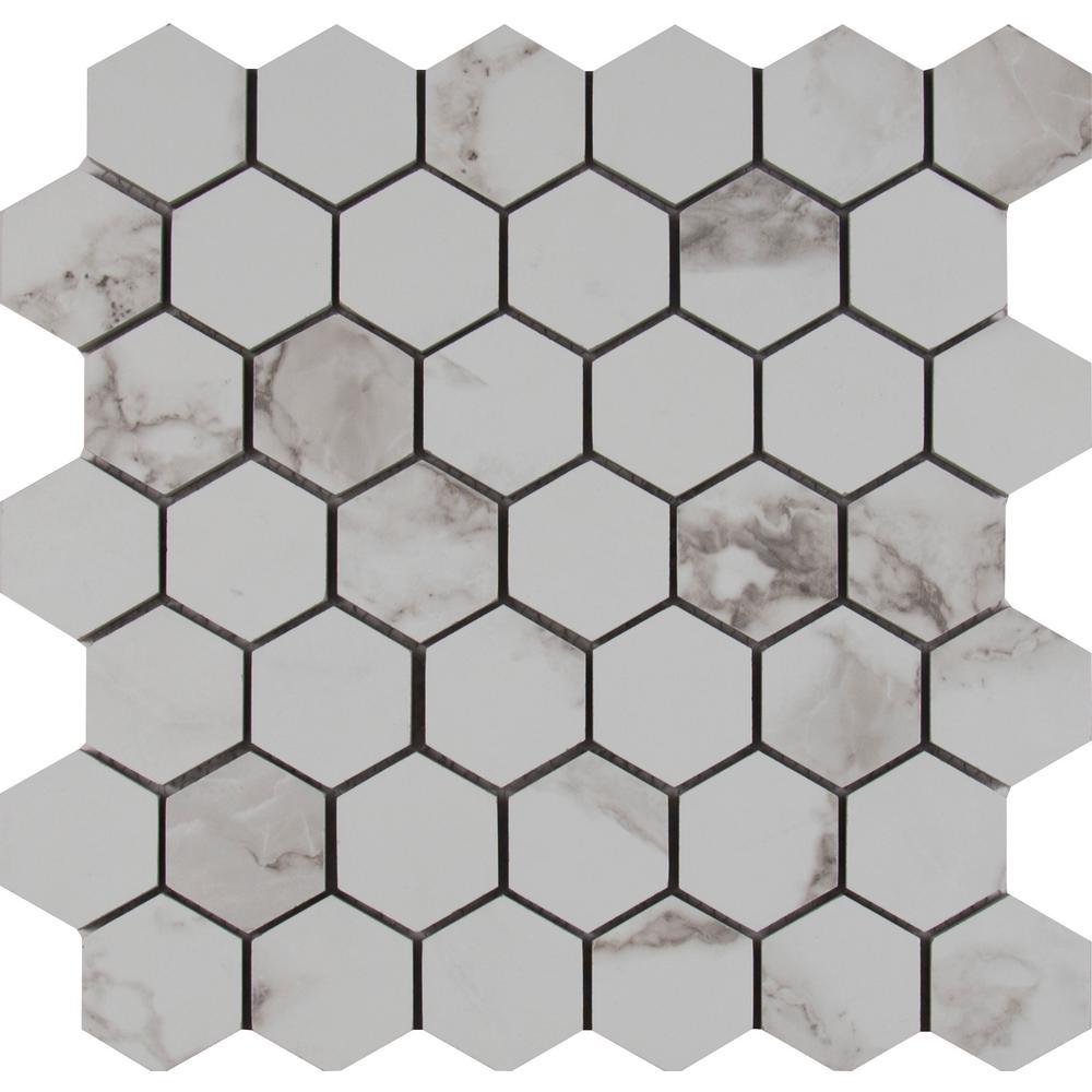 Statuario Hexagon 12 in. x 12 in. x 10mm Glazed Porcelain Mesh-Mounted Mosaic Tile (8 sq. ft. / case)