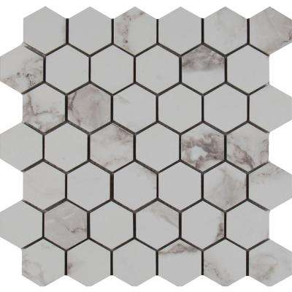 Statuario Hexagon 12 in. x 12 in. x 10 mm Glazed Porcelain Mesh-Mounted Mosaic Tile (8 sq. ft. / case)