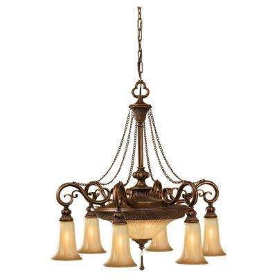 8-Light Bronze Single Tier Chandelier with Glass Shade