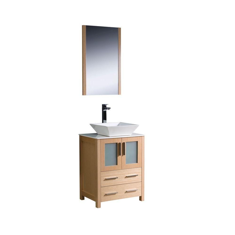 Torino 24 in. Vanity in Light Oak with Glass Stone Vanity