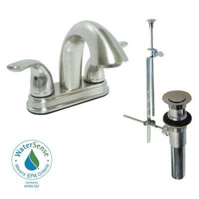 Dominion 4 in. Centerset 2-Handle Bathroom Faucet in Brushed Nickel with Pop-Up