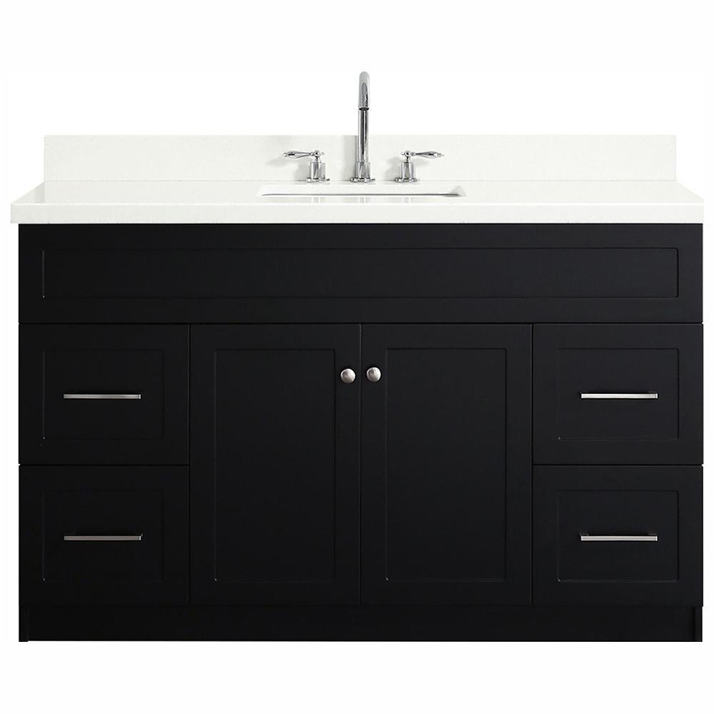 Hamlet 55 in. Bath Vanity in Black with Quartz Vanity Top in White with White Basin